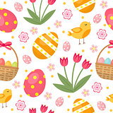 Cute Easter seamless pattern with eggs in basket, birds and flowers. Endless Spring background, texture, digital paper. Vector illustration.