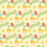 Cute Easter seamless pattern with chick, eggs and flowers, endless backdrop. Holiday background, texture, digital paper. Vector illustration.
