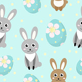 Cute Easter seamless pattern with rabbit and eggs, endless backdrop. Holiday background, texture, digital paper. Vector illustration.