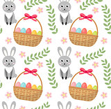 Easter seamless pattern with eggs basket and rabbit. Endless Spring background, texture, digital paper. Vector illustration.