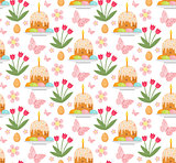 Easter seamless pattern with cake, eggs and tulips. Endless Spring background, texture, digital paper. Vector illustration.