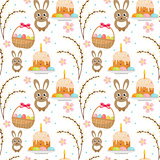 Easter seamless pattern with rabbit, egg basket, cake, pussy willow. Endless Spring background, texture, digital paper. Vector illustration.