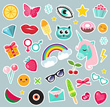 Fashion set of patches 80s comic style. Pins, badges and stickers Collection cartoon pop art with a unicorn, rainbow, lips, emoji. Vector illustration.