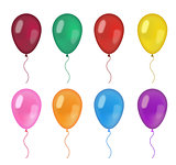 Realistic balloons set. 3d balloon different colors, isolated on white background. Vector illustration, clip art.