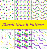 Mardi Gras seamless pattern set. Collection of digital paper, background, texture.