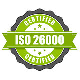 ISO 26000 standard certificate badge - Social responsibility