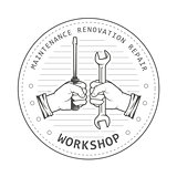 Repair service workshop emblem - hands with spanner and screwdri