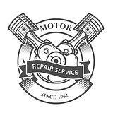 Engine pistons on crankshaft  - auto repair service emblem