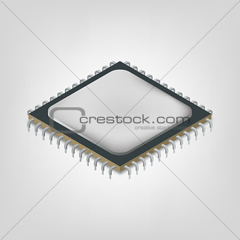 Central processing unit is an isometric, vector illustration.
