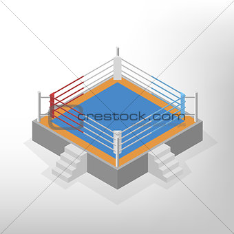 Boxing ring is an isometric, vector illustration.