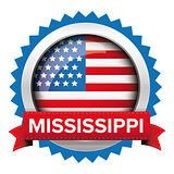Mississippi and USA flag badge vector
