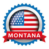 Montana and USA flag badge vector