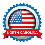 North Carolina and USA flag badge vector