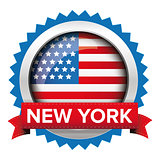 New York and USA flag badge vector