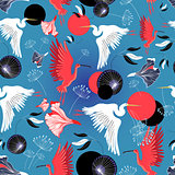Seamless pattern of herons and ibis