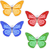set of colorful textured butterflies on white background. isolated.