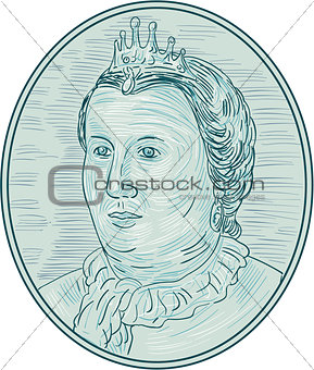 18th Century European Empress Bust Oval Drawing