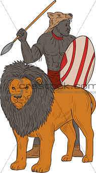 African Warrior Spear Hunting With Lion Drawing