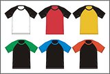 Template T shirt Raglan Combinations , V ector.