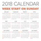 Simple 2018 year calendar