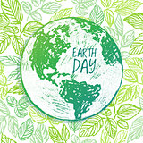 Earth Day ink hand drawn illustration with globe on green backgr