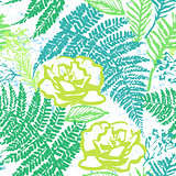 Ink hand drawn green foliage seamless pattern with fern and rose