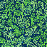 Ink hand drawn green foliage seamless pattern