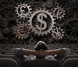 trader or broker looking on currencies working gears 3d illustration