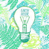 Earth Hour ink hand drawn illustration with light bulb on green