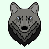 Wolf head black predator symbol freedom.