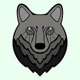Wolf head black predator symbol freedom.
