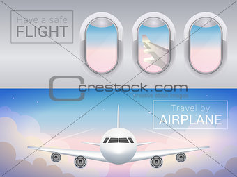 airplane window, the tourist banner. Airplane in the clouds, safe flight across the sky.