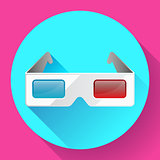 Flat anaglyph 3d glasses vector cinema icon. 3d glasses icon