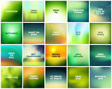 BIG set of 20 square blurred nature green backgrounds. With various quotes