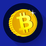 Bitcoin. Gold coin with Bitcoin symbol. Cryptography currency