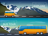 Vector travel banners set. Bus tour to Alps mountains, minibus in the wild, the company travelers