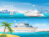 Vector travel banners set. Yacht in the bay of tropical island, ocean sea cruise liner in the islands.