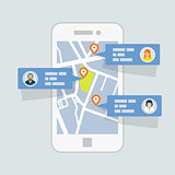 Location check-in on map - mobile gps navigation