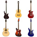 electric rock guitar and acoustic guitar in color