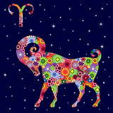Zodiac sign Aries with flowers fill over starry sky