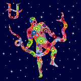 Alternative Zodiac sign Ophiuchus with flowers fill over starry