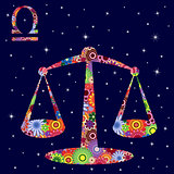 Zodiac sign Libra with flowers fill over starry sky