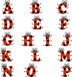Alphabet in ladybug style, in red and black color