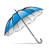 Drawing umbrella on white background. Vector illustration