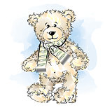 Drawing Teddy Bear with scarf. Color vector illustration