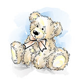 Drawing Teddy Bear with bow. Color vector illustration