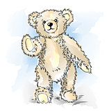 Drawing Teddy Bear. Color vector illustration
