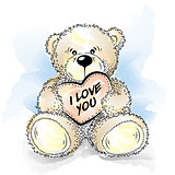 Drawing Teddy Bear with heart. Color vector illustration