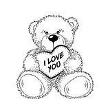 Drawing Teddy Bear with heart. Vector illustration