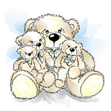 Drawing Teddy Bears with bow. Color vector illustration